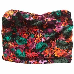 GARAGE Crop Tube Top Tropical Floral with Stretch